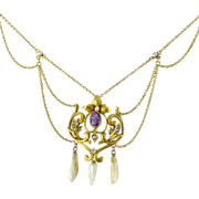Antique Art Nouveau 10K Amethyst and Natural Pearl Festoon Necklace