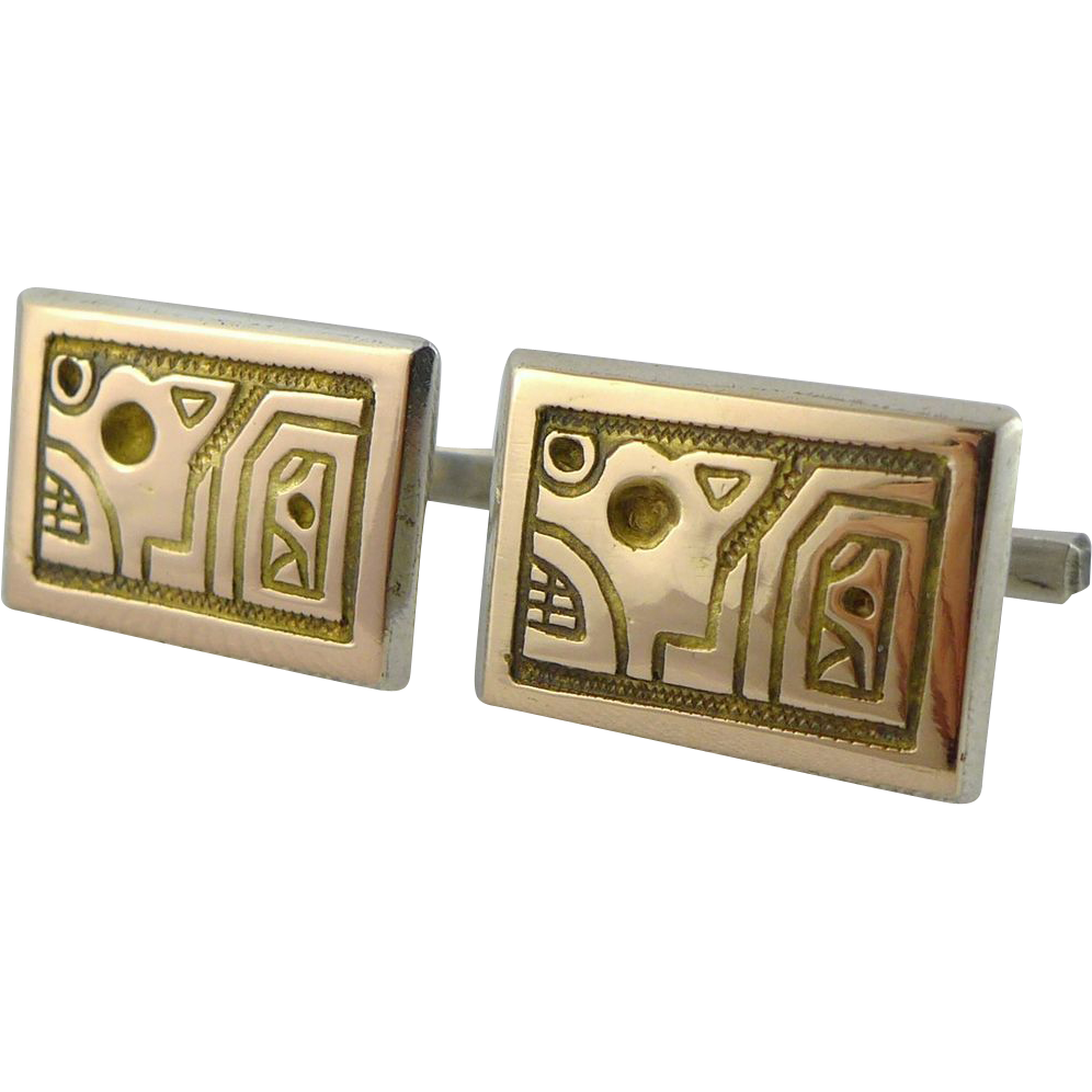 Vintage 18K Gold and Sterling Silver Abstract Cufflinks