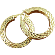 Vintage 14K Gold Squared Hoop Earrings - Italy 585