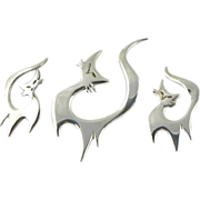 Vintage Sterling Silver Danish Demi-Parure Brooch and Earring Set - Cats