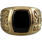 Vintage Men's 10K Gold Onyx Ring