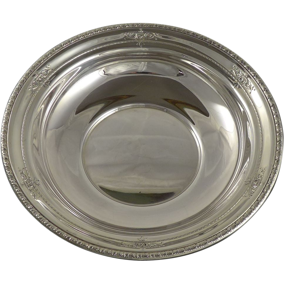Vintage Wallace Sterling Silver Vegetable Serving Bowl - 10 inches