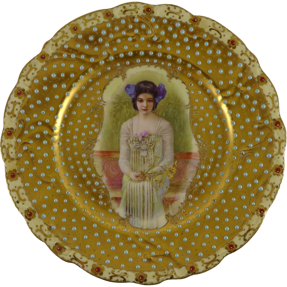 Antique Jeweled Porcelain Cabinet Plate Of Young Woman - Prov Saxe E S Germany