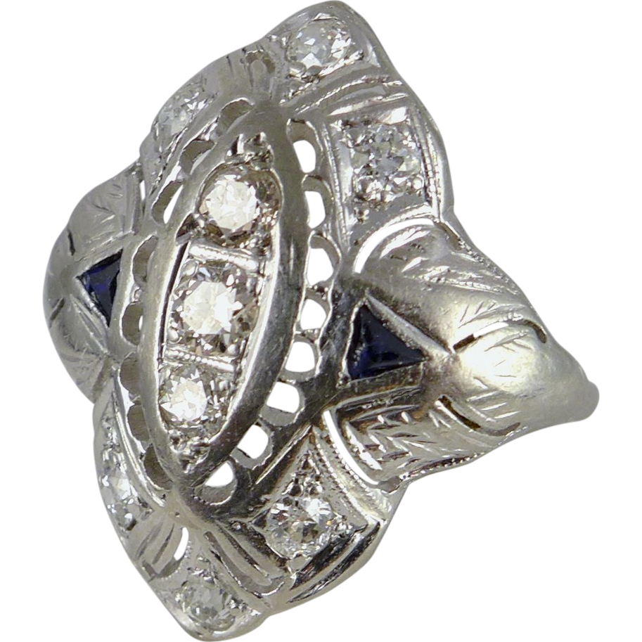Antique Edwardian Platinum and Diamond Engagement Ring