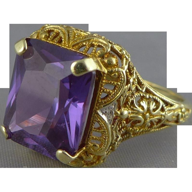 Vintage Gold Color Change Sapphire Ring, 14K Filigree Setting