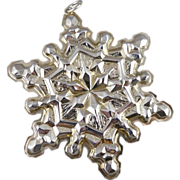 Vintage Gorham Sterling Silver Snowflake Christmas Ornament - 1971