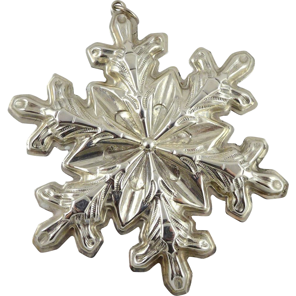 Vintage Gorham Sterling Silver Snowflake Christmas Ornament - 1973