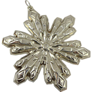 Vintage Gorham Sterling Silver Snowflake Christmas Ornament - 1974