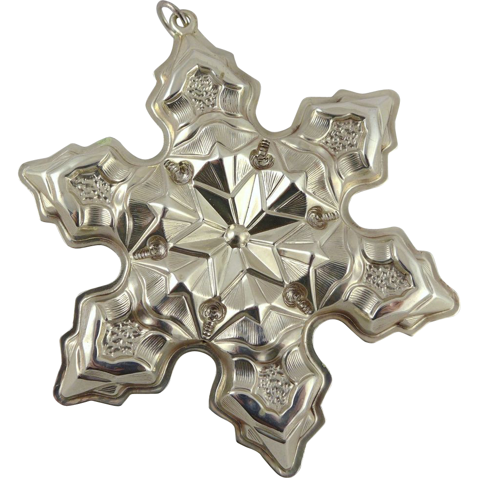 Vintage Gorham Sterling Silver Snowflake Christmas Ornament - 1975