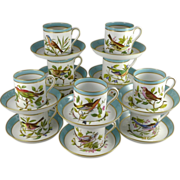 Spode Copeland China Set of Twelve Demitasse Cups & Saucers - Audubon Birds - Complete Set!