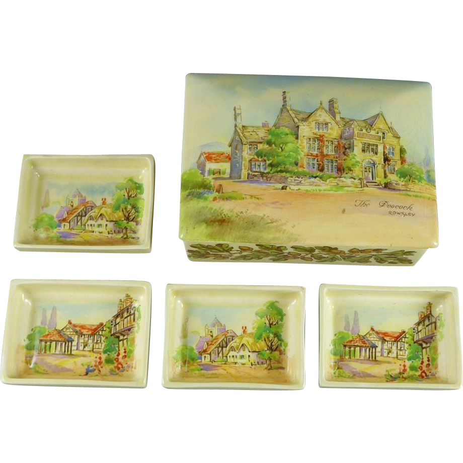 Vintage Royal Doulton Smoking Set Old English Inns D6072