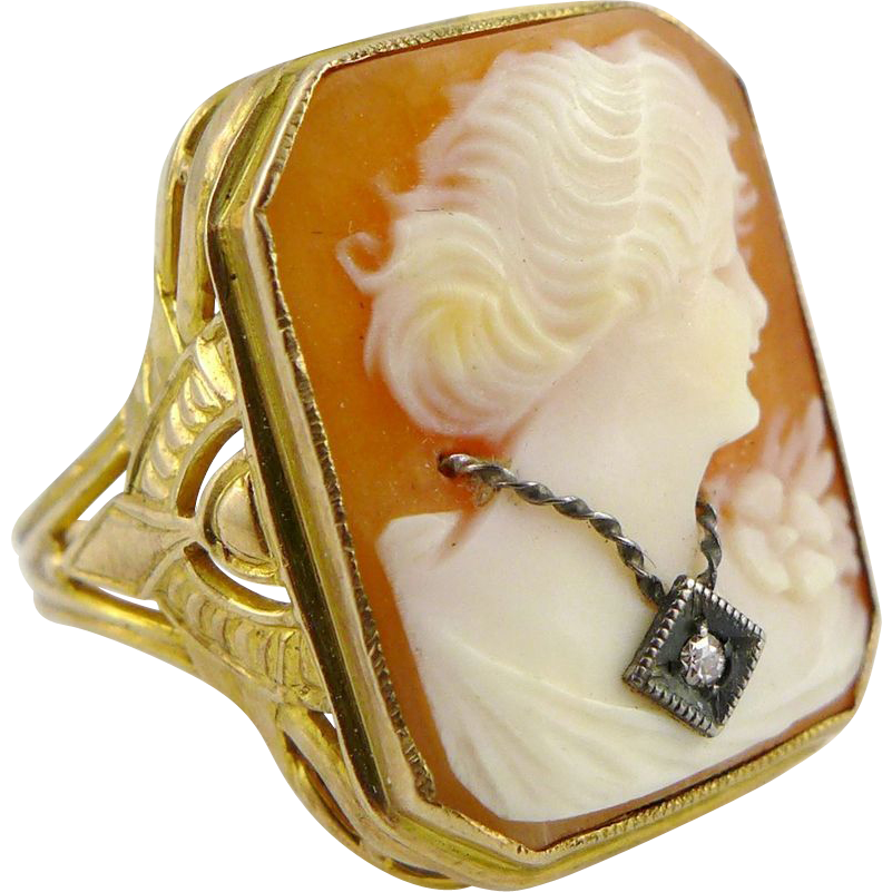 Vintage 10K Yellow Gold Habille Shell Cameo Ring, Art Deco Period