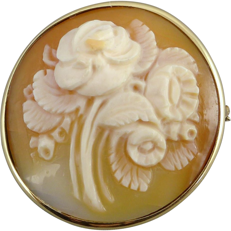 Vintage 14K Gold Floral Carved Shell Cameo Brooch Pin / Pendant