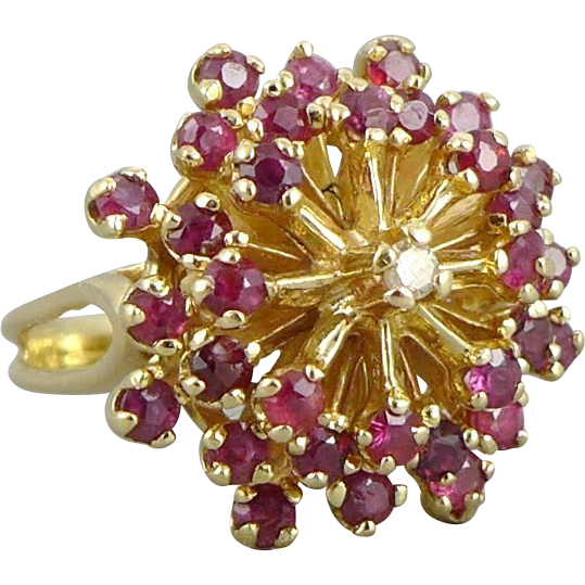 Vintage 14k Gold Retro Ruby and Diamond Cocktail Ring