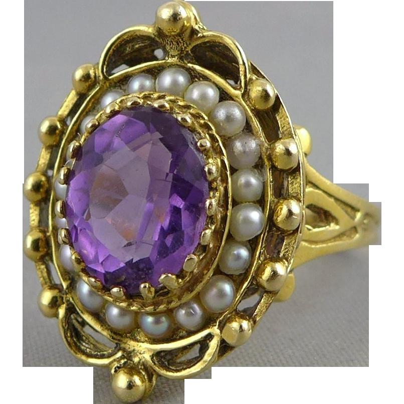 Vintage 14K Gold Victorian Revival Amethyst Split Seed Pearl Ring