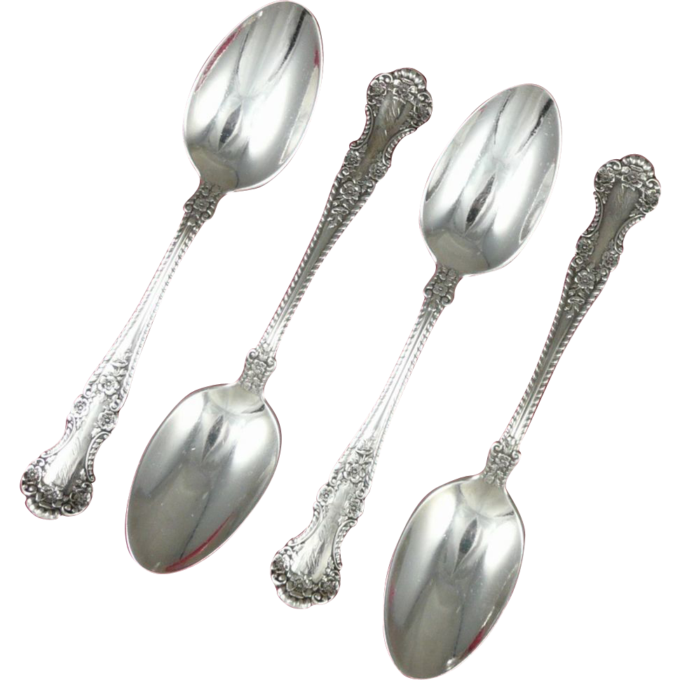 Antique Gorham Cambridge Sterling Silver Teaspoons, Set of 4