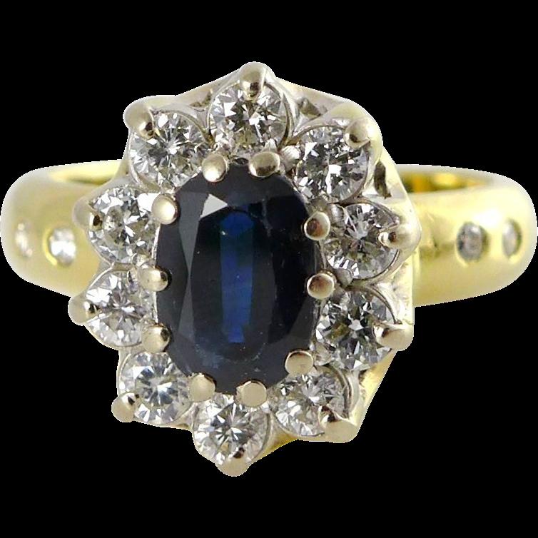 Vintage English 18K Gold Sapphire Diamond Halo Ring