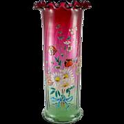 Antique European Art Nouveau Rubina Verde Floral Polychrome Enamel Vase