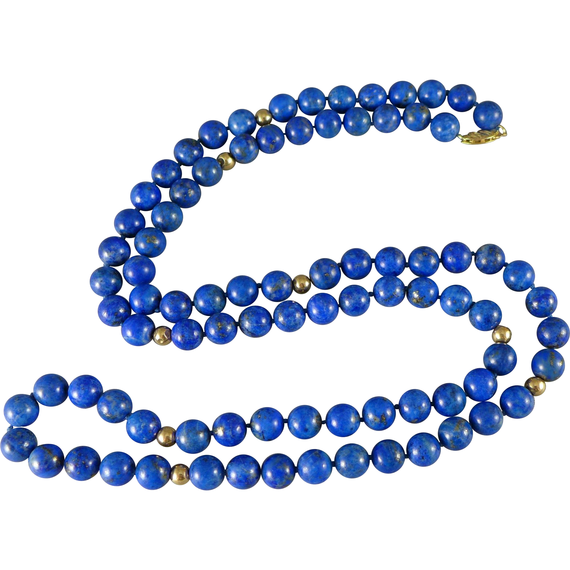 Vintage 14K Gold Lapis Beaded Necklace - Opera Length