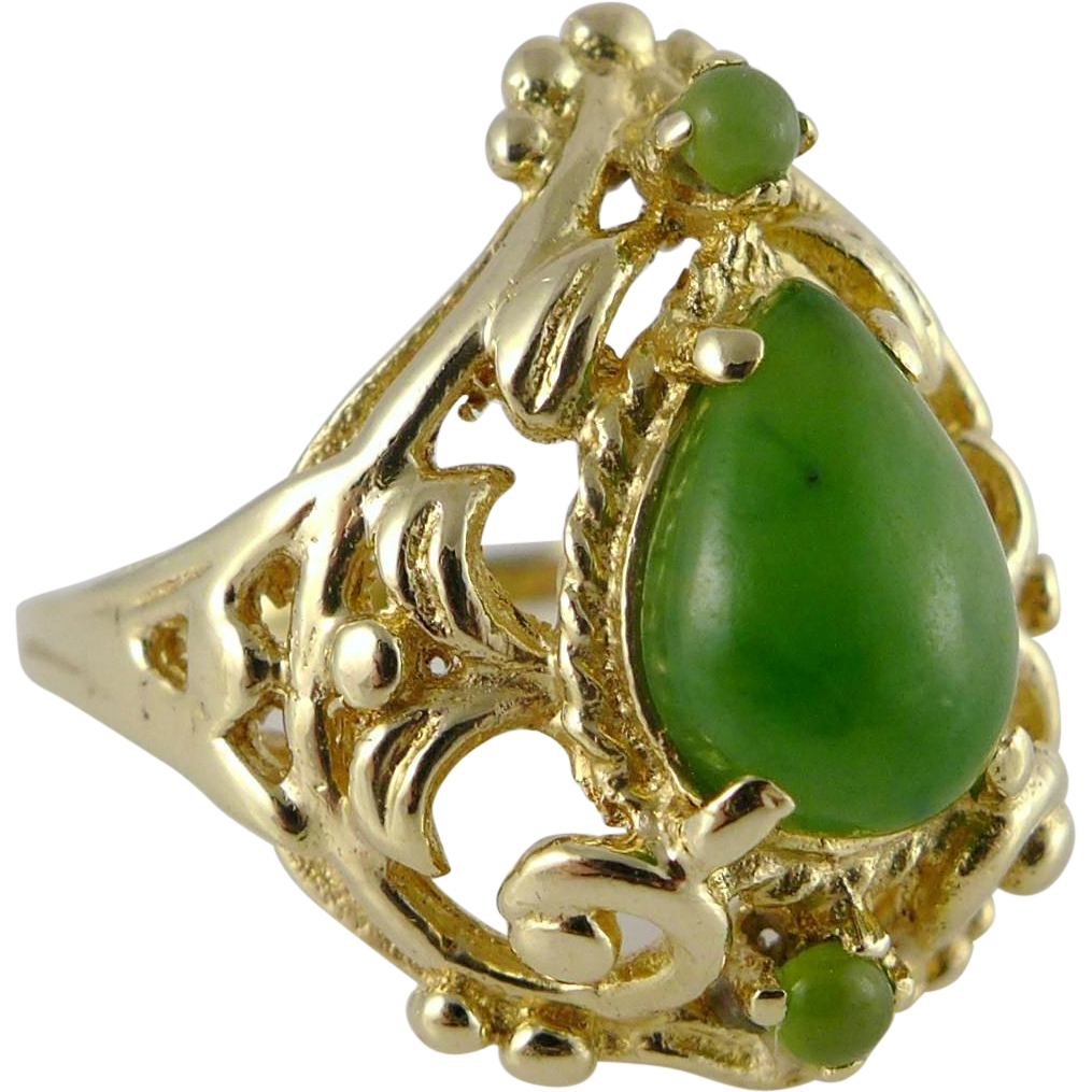 Vintage 14K Gold and Jade Ring