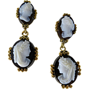 Antique Victorian 10K Gold Hard Stone Cameo Earrings
