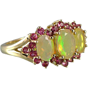 Vintage 10K Gold Ring With Natural Faceted Jelly Opals and Pink Spinels