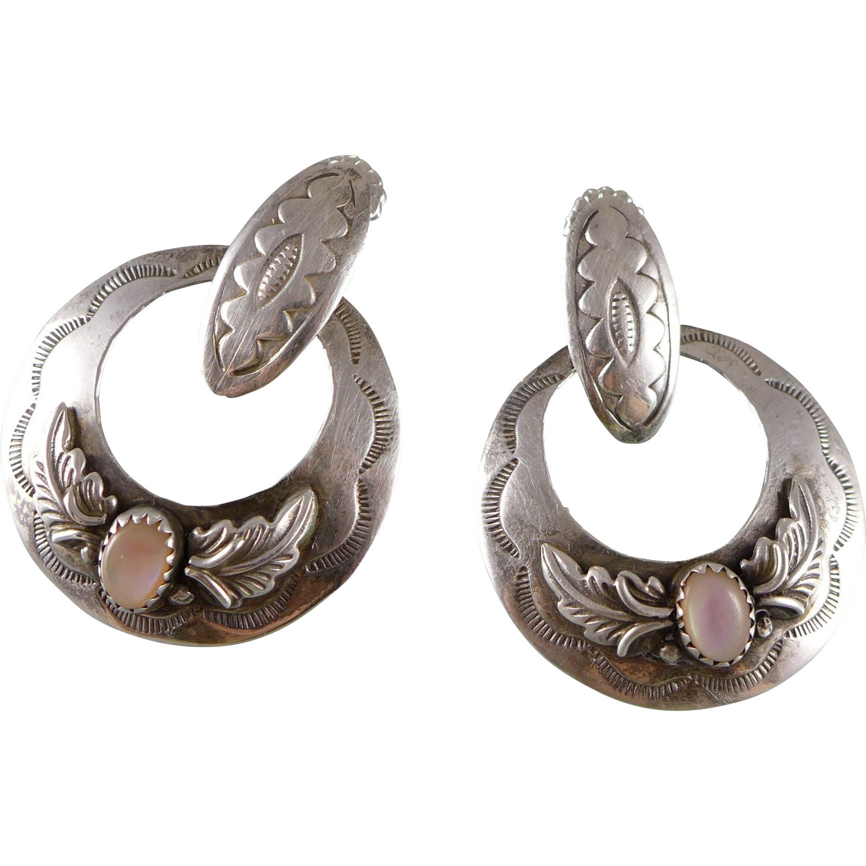 Vintage Sterling Silver And Mother Of Pearl Navajo Earrings By D Sold Ruby Lane