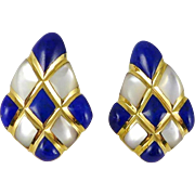 Vintage 14K Gold Kabana Lapis Lazuli and Mother-of-Pearl Inlay Earrings