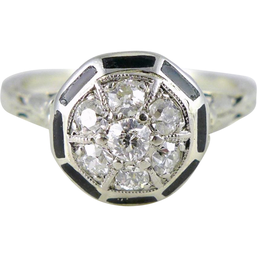 Vintage Art Deco 14K White Gold Diamond and Enamel Ring