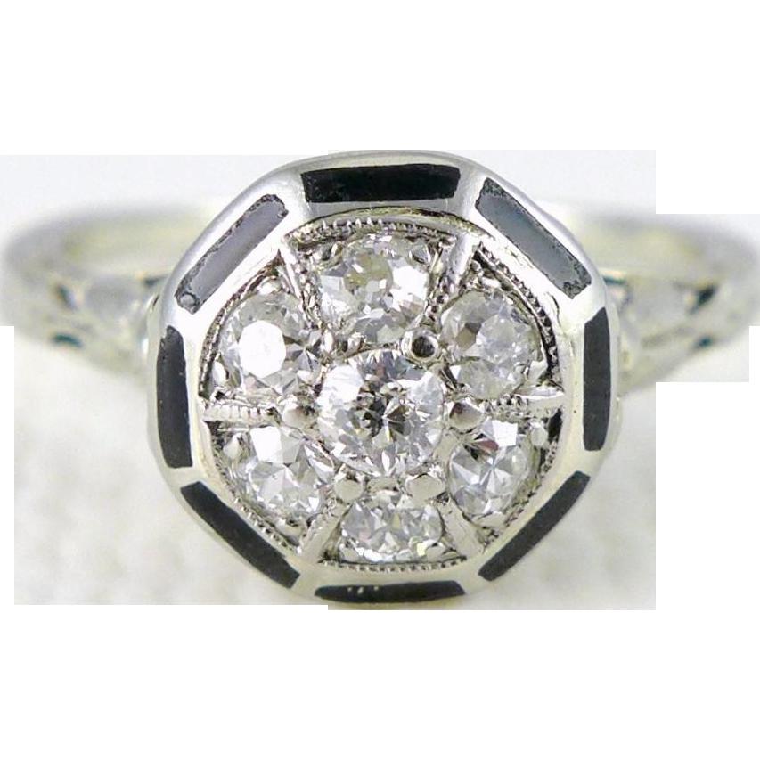 Vintage Art Deco 14K White Gold Diamond and Enamel Ring