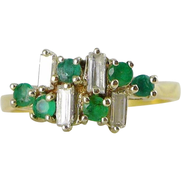 Vintage 18K Gold Emerald Diamond Ring, Mid Century Modern
