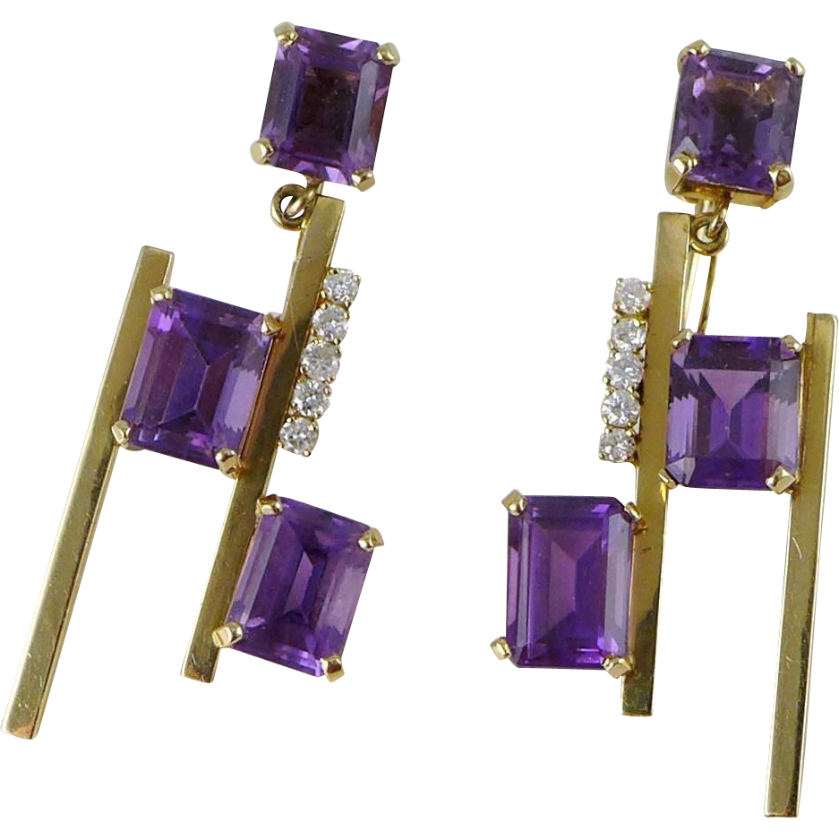 Vintage 14K Gold Amethyst Diamond Earrings, Mid Century Modern