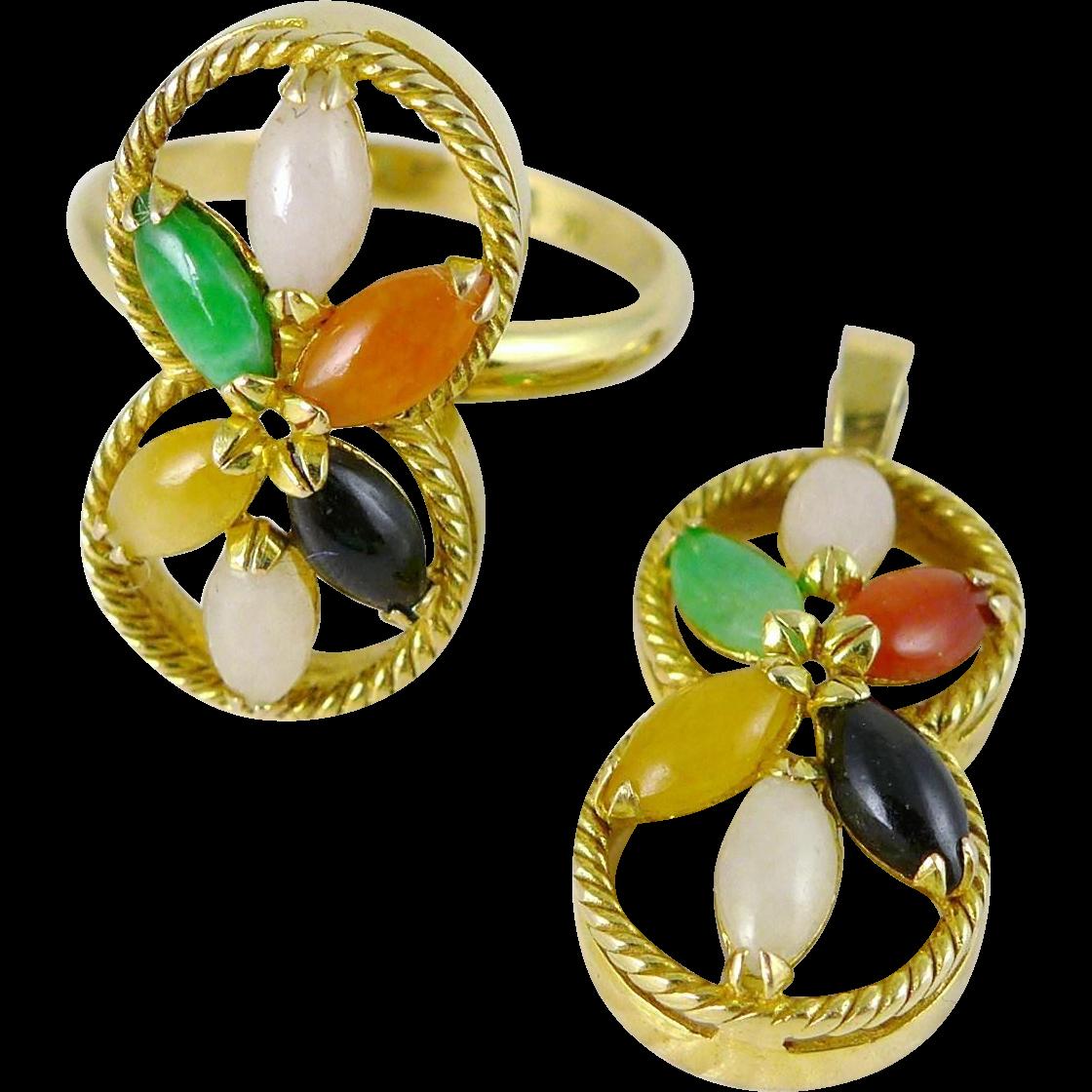 Vintage 14K Gold Multi Color Jade Cluster Ring and Pendant Set