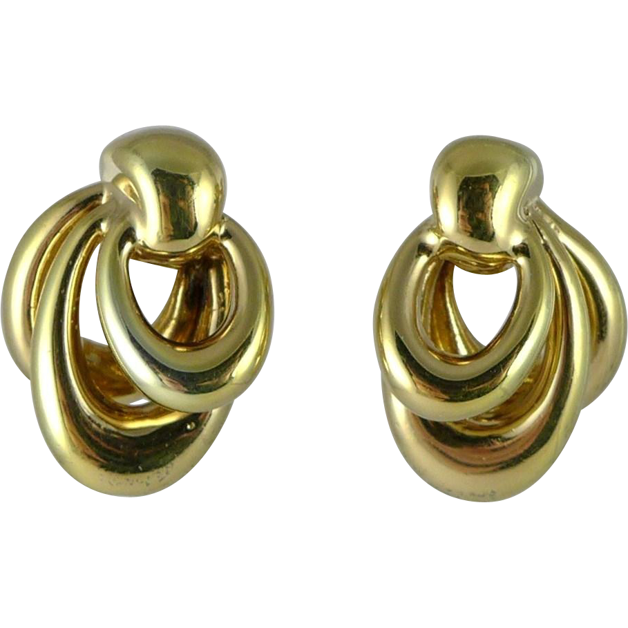 Vintage 14K Yellow Gold Triple Hoop Earrings