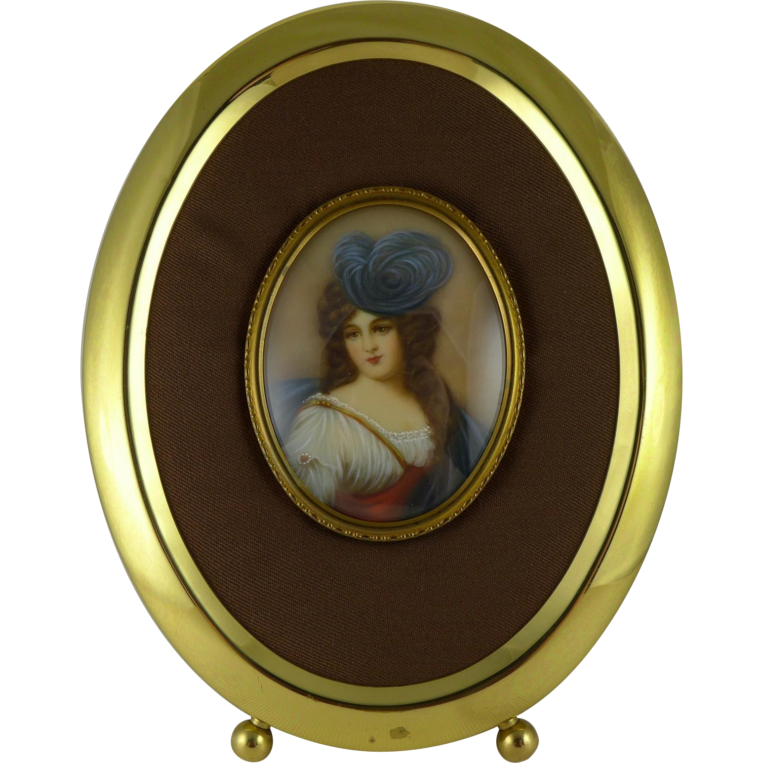 Vintage Hand Painted Miniature Portrait of a Lady on Celluloid