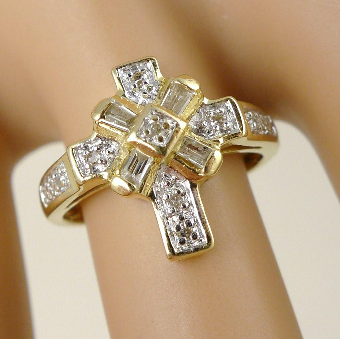 vintage 14k gold and cross ring religious from