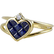 Vintage 14K Gold Sapphire Diamond Heart Shaped Ring