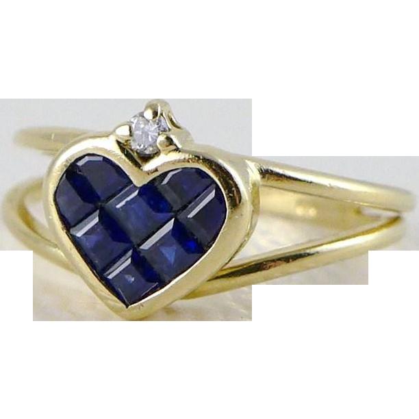 Vintage 14K Gold Sapphire Diamond Heart Shaped Ring