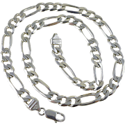Vintage Heavy Italian Sterling Silver Figaro Chain 20 Inches