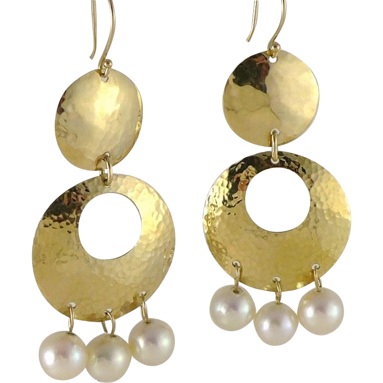 Vintage Long 14K Modernist Hammered Gold Dangle Earrings With Cultured Pearls