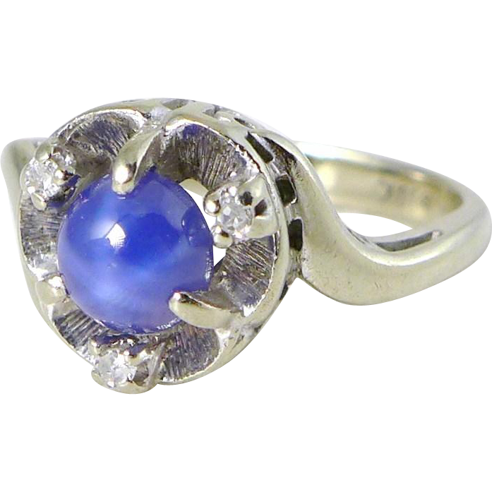 Vintage Blue Star Sapphire Ring with Diamonds in 10K White Gold
