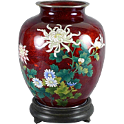 Japanese Sato Cloisonne Vase with Silver Trim