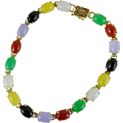 Vintage Multicolor Jade Bracelet Set in 14K Gold