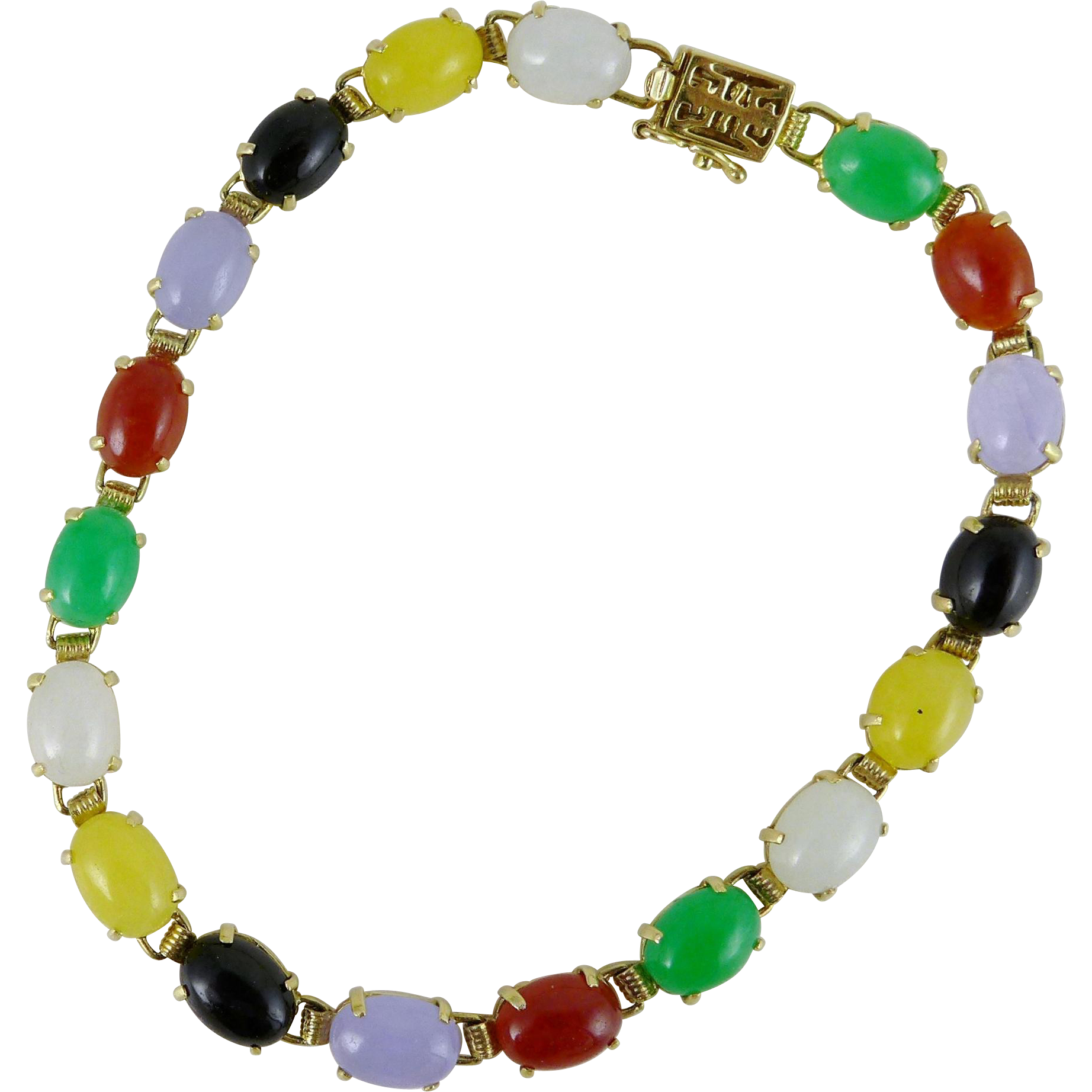 Vintage Multicolor Jade Bracelet Set in 14K Gold