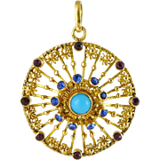 Vintage European Mid-Century 14K Rose Gold Turquoise Pendant