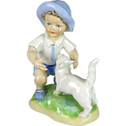 Vintage Royal Worcester September Figurine Boy with Cat by Freda Doughty 3457 c. 1953