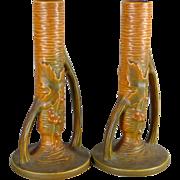 Vintage Pair of Roseville Bushberry Bud Vases in Russet / Orange Color 152 7 - c. 1940's