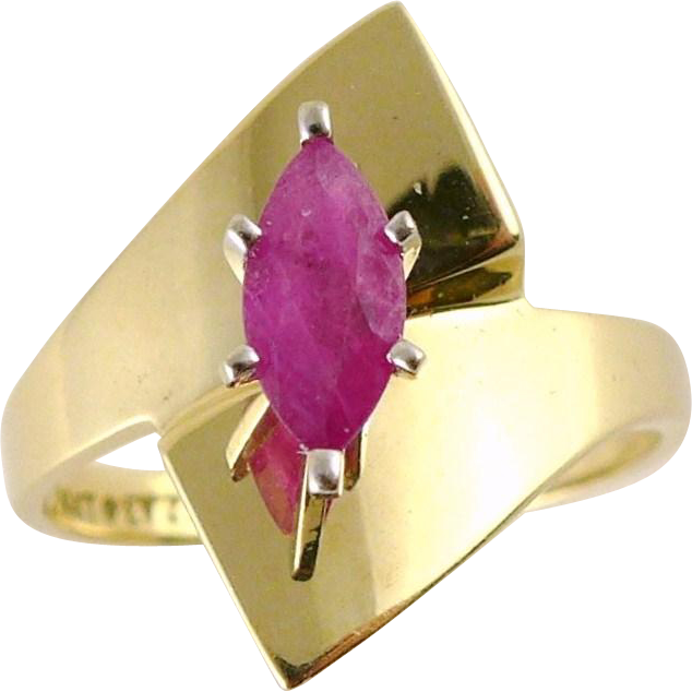 Vintage 14K Gold Modernist Marquise Ruby Ring