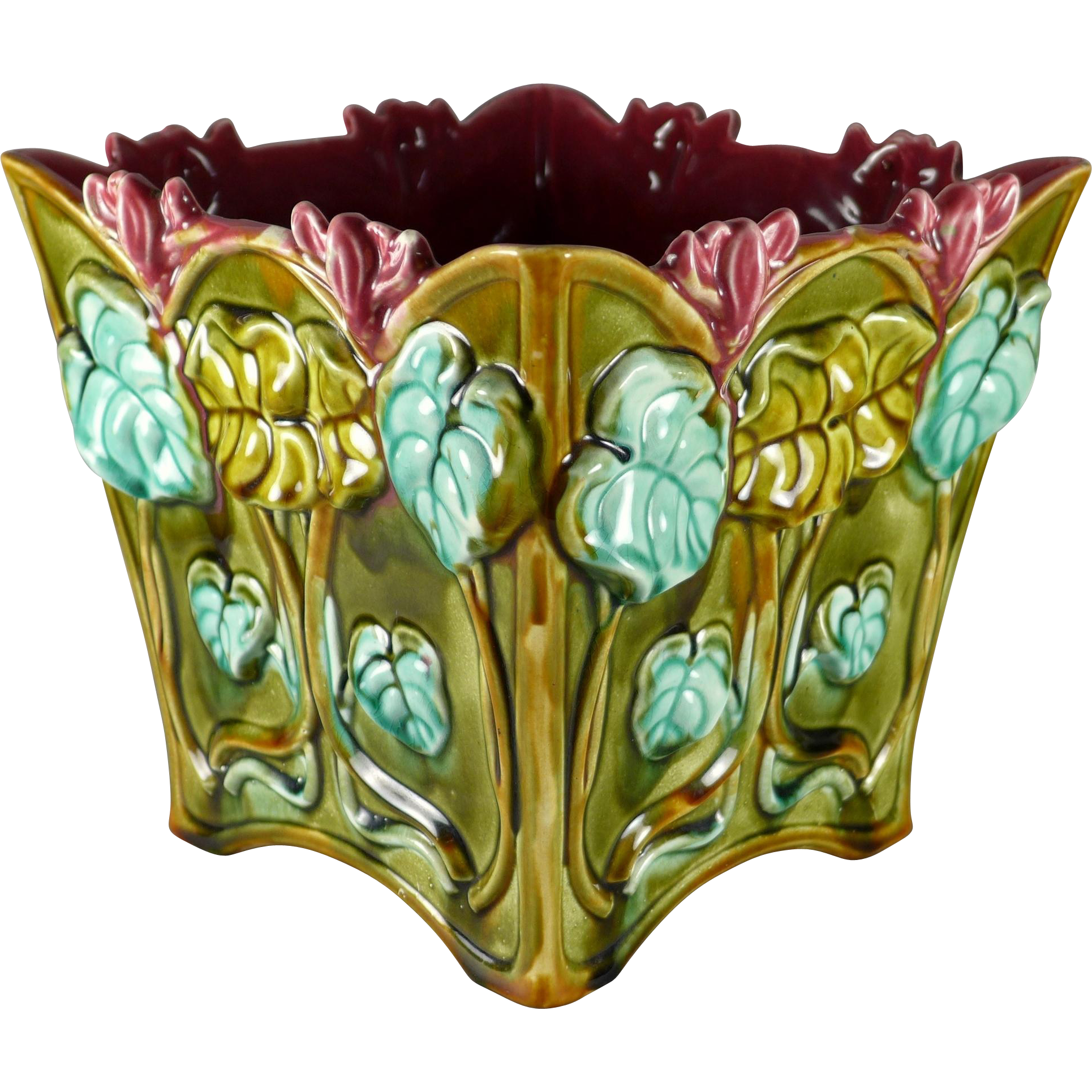 Antique Art Nouveau French Majolica Frie Onnaing 8 inch Cache Pot / Jardiniere