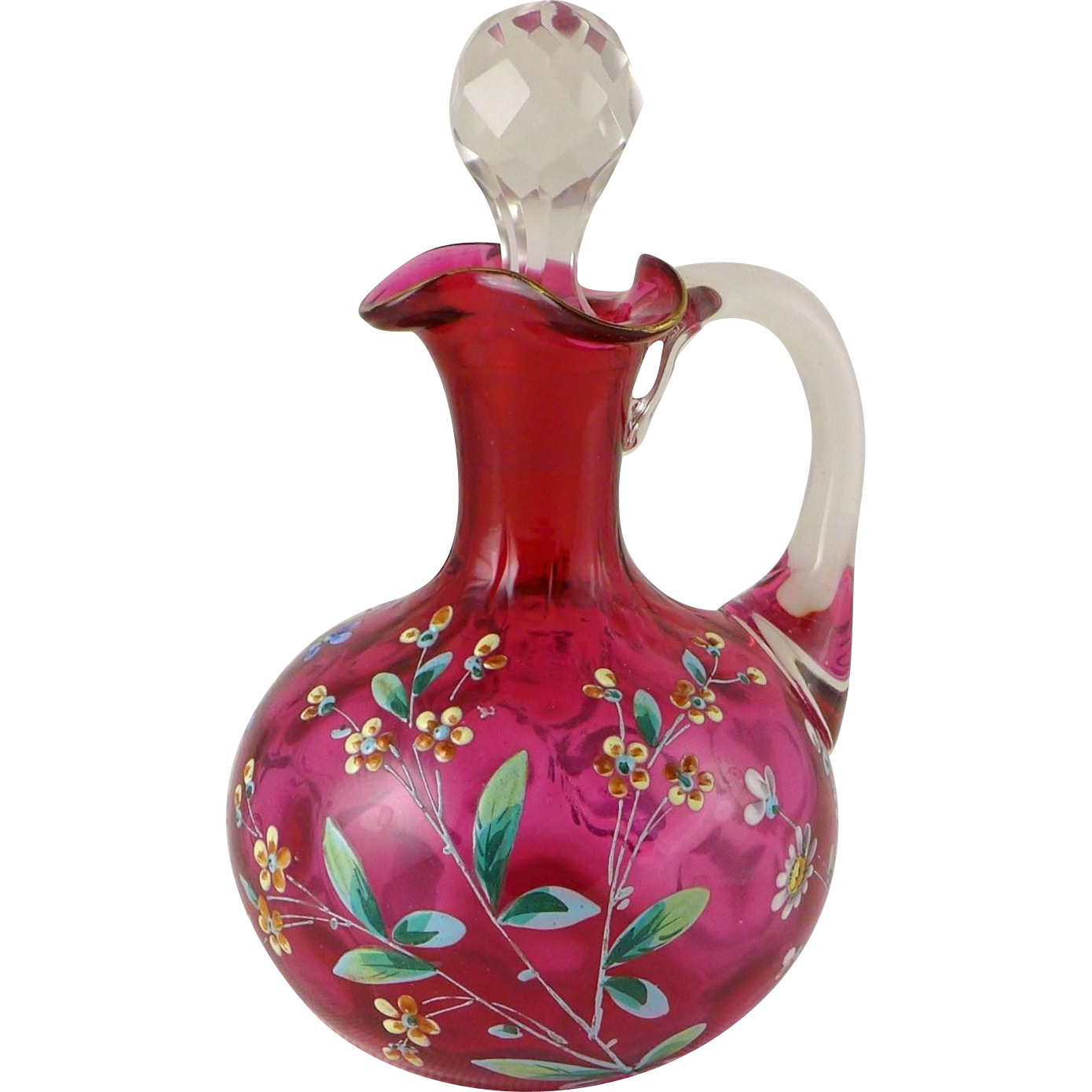 Antique Cranberry Glass Enameled Cruet - Floral